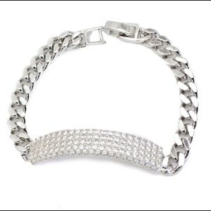 🆕 White Gold Plated CZ Pave ID Bracelet